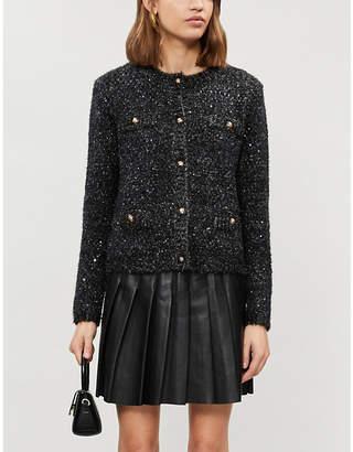 Maje Sequin-embellished stretch-knit cardigan