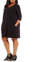 Eileen Fisher Plus V-Neck 3/4 Sleeve A-Line Dress
