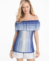 White House Black Market Off-the-Shoulder Flounce Stripe Sweater