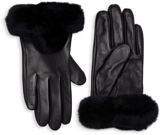 La Fiorentina Leather & Rabbit Fur-Trim Gloves
