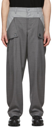 Burberry Grey Wool Press-Stud Detail Trousers