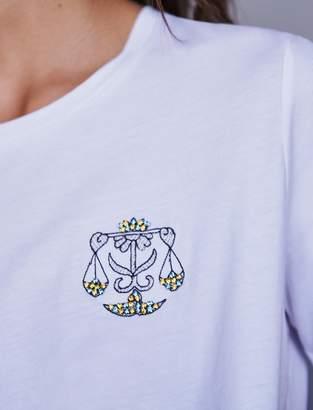 Maje Libra rhinestone embroidered t-shirt