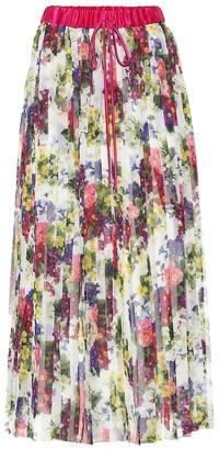Dolce & Gabbana Floral-printed plissA midi skirt