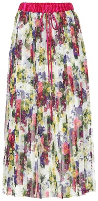 Dolce & Gabbana Floral-printed plisse midi skirt