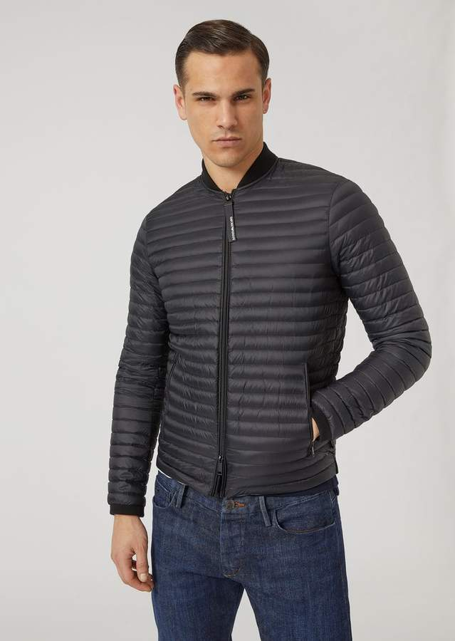 Emporio Armani Glossy Nylon Quilted Down Jacket With Knit Inserts