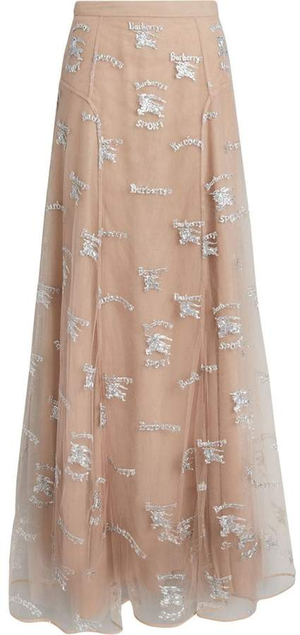 Burberry Equestrian Knight Embroidered Tulle Skirt