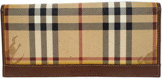 Burberry Beige Haymarket Check PVC and Leather Continental Wallet