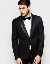 Antony Morato Tuxedo Suit Jacket With Faux Leather Shawl Lapel In Super Slim Fit - Black
