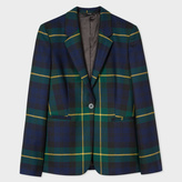 Paul Smith Women's Tailored-Fit Black Watch Check Wool One-Button Blazer