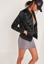 Missguided Quilted Satin Bomber Jacket Green