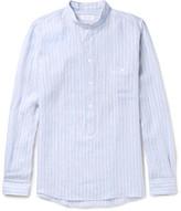 Richard James Slim-fit Grandad-collar Striped Linen Shirt