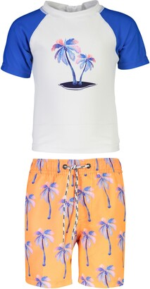 Snapper Rock Snapper Palm Print Days Two-Piece Rashguard Swimsuit