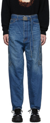 Doublet Blue Hemp Chaos Embroidery Jeans