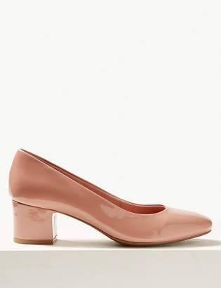 M&S CollectionMarks and Spencer Wide Fit Patent Block Heel Court Shoes
