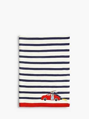John Lewis & Partners Baby Racing Bunny Applique Pram Blanket, Navy Stripe