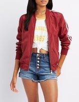 Charlotte Russe Varsity Stripe Lightweight Bomber Jacket
