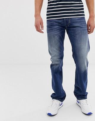 Diesel Larkee straight fit jeans in 08XR mid light wash-Blue