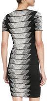 French Connection Spotlight Fleck Chevron Dress, Black/Birch