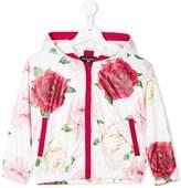 MonnaLisa rose-print hooded zip-up jacket