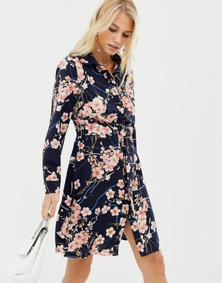 Liquorish blossom floral print shirt dress-Navy