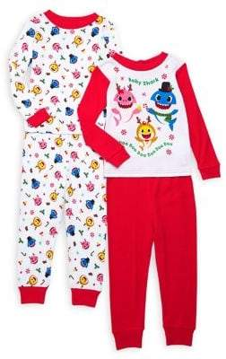 AME Sleepwear Little Girl's 4-Piece Graphic Pajama Top & Pants Set