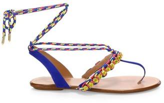 Aquazzura Surf Embellished Braided Suede Sandals