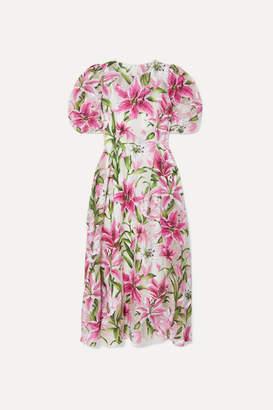 Dolce & Gabbana Floral-print Organza Midi Dress - Pink