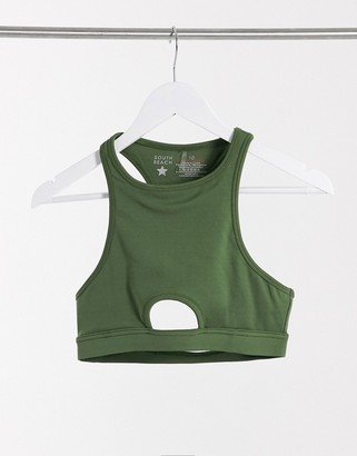 South Beach fitness racer front crop top with center cutout in khaki
