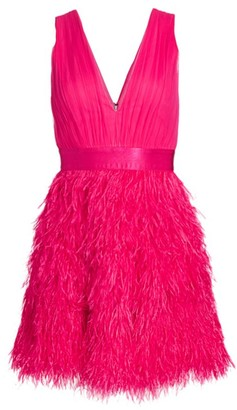 Alice + Olivia Tegan Feather Party Dress