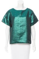 Tibi Metallic Short Sleeve Top