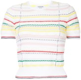 Thom Browne Short Sleeve Crew Neck Tee With Tipping Stripe In Cotton Lurex Knit Tweed