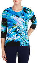 Allison Daley Splash Print Crew Neck 3/4 Sleeve Knit Top