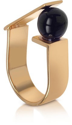 Egotique Arlequin Golden Brass Ring w/Black Glass Pearl
