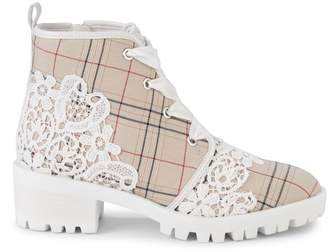 Karl Lagerfeld Paris Parker Lace & Plaid Boots