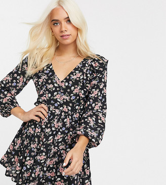 Miss Selfridge Petite smock dress in floral print-Black