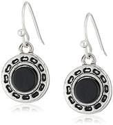The Sak Stone Metal Black/Silver Drop Earrings
