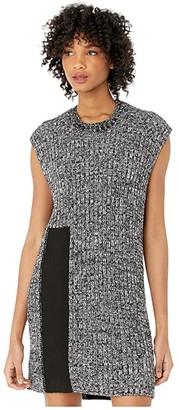 MM6 MAISON MARGIELA Intarsia Easy Sweater Dress (Black) Women's Clothing