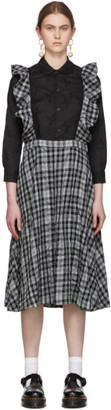 Comme des Garcons Black and Grey Check Shoulder Straps Skirt