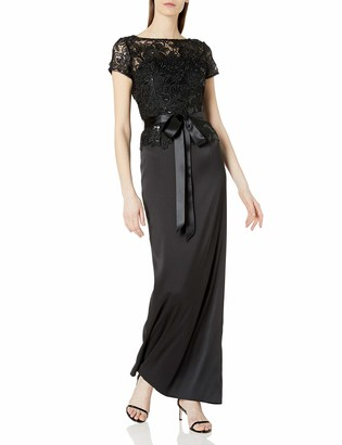 Adrianna Papell Women's Long Column Gown with Sequin Lace Bodice and Short Sleeves