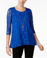 JM Collection Attached-Necklace Mesh Top, Only at Macy's