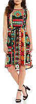 Eva Franco Sage Printed Tassel Trim Hi-Low Dress