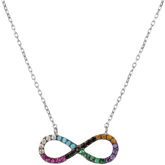 Latelita Infinity Eternity Rainbow Necklace Silver