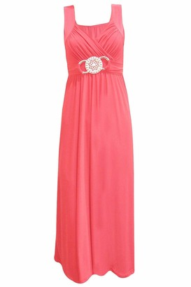 Purple Hanger Womens Sleeveless Ladies Cross Over Wrap Buckle Belt Back Tie Fastening Long Maxi Dress Plus SizeRed Size 24 - 26
