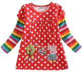 Tiful Peppa Pig Little Girls Spring Fall Long Sleeve Cartoon Embroidery Embroidered Polka Dot Cotton T-Shirts