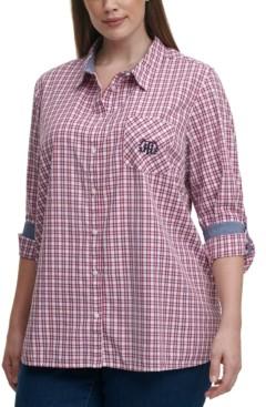 Tommy Hilfiger Plus Size Cotton Plaid Roll-Tab Shirt