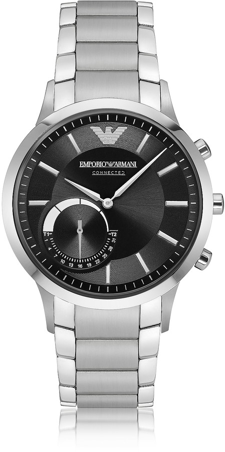 Emporio Armani Connected Satin Stainless Steel Hybrid Men's Smartwatch