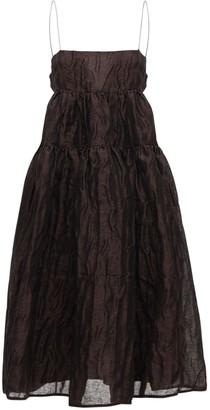 Cecilie Bahnsen Jacquard Linen Blend Dress W/ Open Back