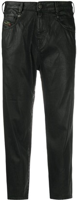 Diesel High-Rise Cropped Coated Jeans