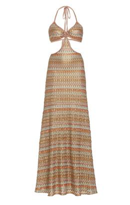 Alexis Ayumi Cutout Chevron-Knit Maxi Dress