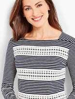 Talbots Lace-Trimmed Tee - Plainfield Stripes